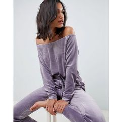 lounge velour off shoulder sweat - grey, Asos design