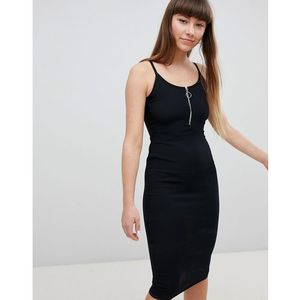 zip front bodycon dress - black, New look