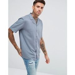 Another Influence Plain Revere Collar Short Sleeve Shirt - Blue
