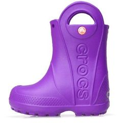 Kalosze Crocs Handle It Rain Boot Kids Neon Purple 12803-518 - Fioletowy