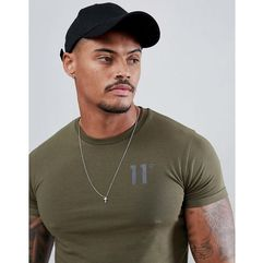 11 Degrees muscle fit t-shirt in khaki with logo - Green