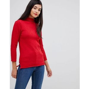 French Connection Molly Mozart high neck waffle knit jumper - Red