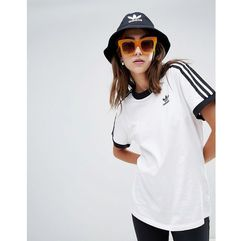 Adidas Originals 3 Stripe Ringer T-Shirt In White - White, kolor biały