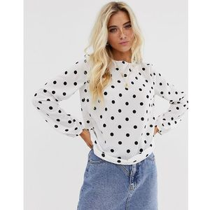 Pieces spot print long sleeve top - White