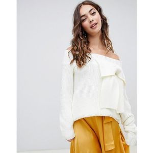Lost Ink off shoulder jumper with 3d bow in chunky knit - White, kolor biały