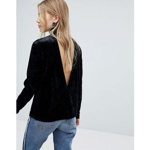 Pieces velvet high neck top with deep v back - black