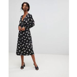 wrap front polka dot and floral midi dress - multi, Influence