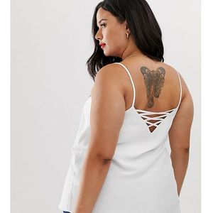 New look curve cross back cami in white - white, New look plus