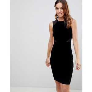 viven velvet panel bodycon dress - black marki French connection