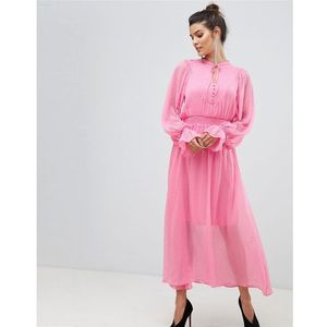 tie neck chiffon spot maxi dress in pink - pink, Y.a.s, 34-42
