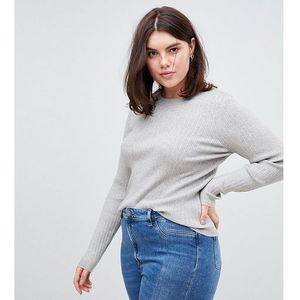 Asos curve Asos design curve ribbed jumper in fine knit - stone