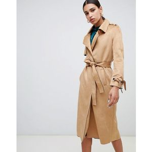 River Island faux suede belted trench coat in camel - Beige
