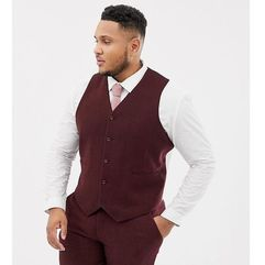 ASOS DESIGN Plus wedding skinny suit waistcoat in burgundy wool mix herringbone - Red, wełna