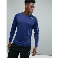 2xu running active long sleeve top in navy mr5158a-nvy - navy