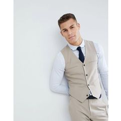 ASOS DESIGN Wedding slim suit waistcoat in stone - Grey, kolor szary