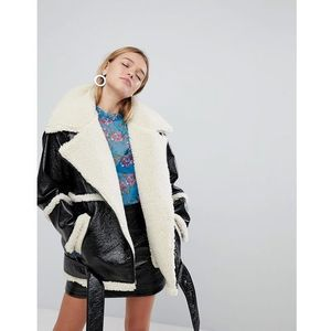 Monki Premium Shearling Aviator Jacket - Black, w 3 rozmiarach