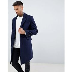 ASOS DESIGN wool mix overcoat in navy - Navy, 1 rozmiar