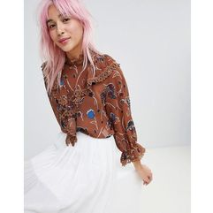 Amy Lynn high neck floral printed blouse - Brown