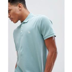 Abercrombie & Fitch Stretch Core Moose Icon Logo Slim Fit Polo in Aqua - Blue