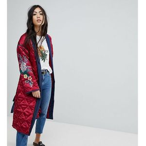 premium wrap jacket in quilted satin with floral embroidery - red marki Glamorous petite