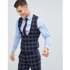 design wedding super skinny suit waistcoat in navy waffle check - navy marki Asos
