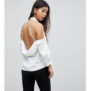 halter top with drape back - white, Asos petite
