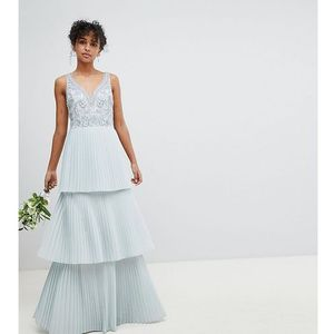 Maya floral sequin top maxi bridesmaid dress with tiered ruffle pleated skirt - blue