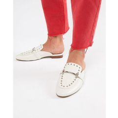ALDO White Studded Metal Bar Loafer Mules - White