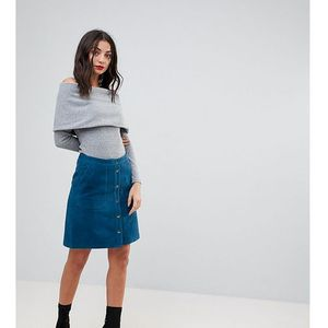 Y.a.s tall popper detail suede skirt - navy