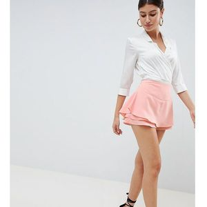 PrettyLittleThing Tailored Frill Shorts - Beige