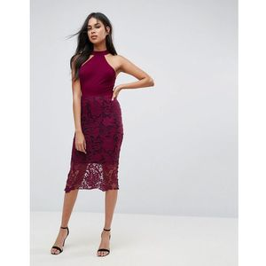 racer neck midi dress with crochet lace skirt and contrast lining - purple, Ax paris