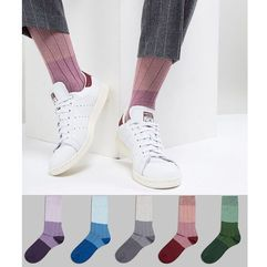 Asos design socks in tricolour tonal rib 5 pack - multi