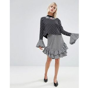 House of Holland Gingham Skirt - Black, kolor czarny