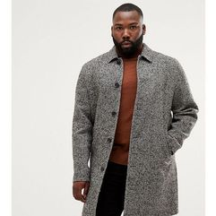 plus wool mix overcoat in black texture - grey marki Asos design