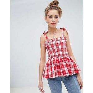 Wednesday's girl top with tie shoulder in gingham check - red