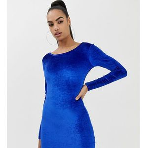 COLLUSION velvet bodycon dress with low back - Blue
