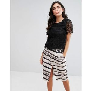 Zibi London Lace Scallop Edge Top - Black