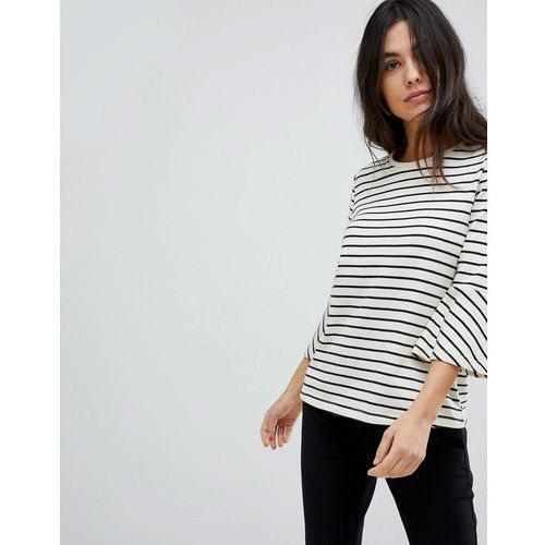 Y.A.S Stripe Top With Flare Sleeve - White