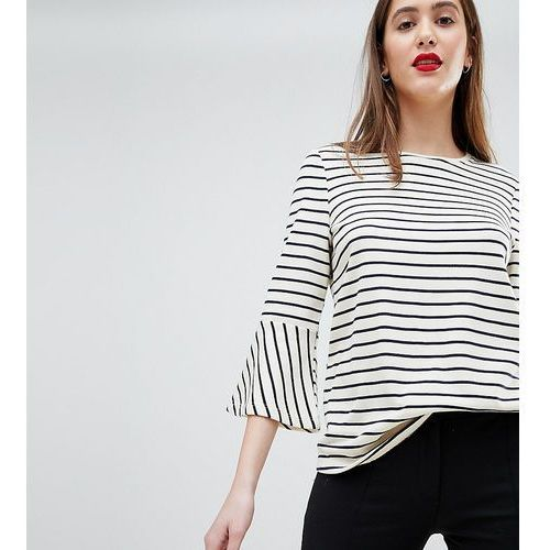 Y.A.S Tall Stripe Top With Flare Sleeve - White